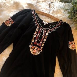 Joie Hungarian Embroidery Peasant Sleeve Top
